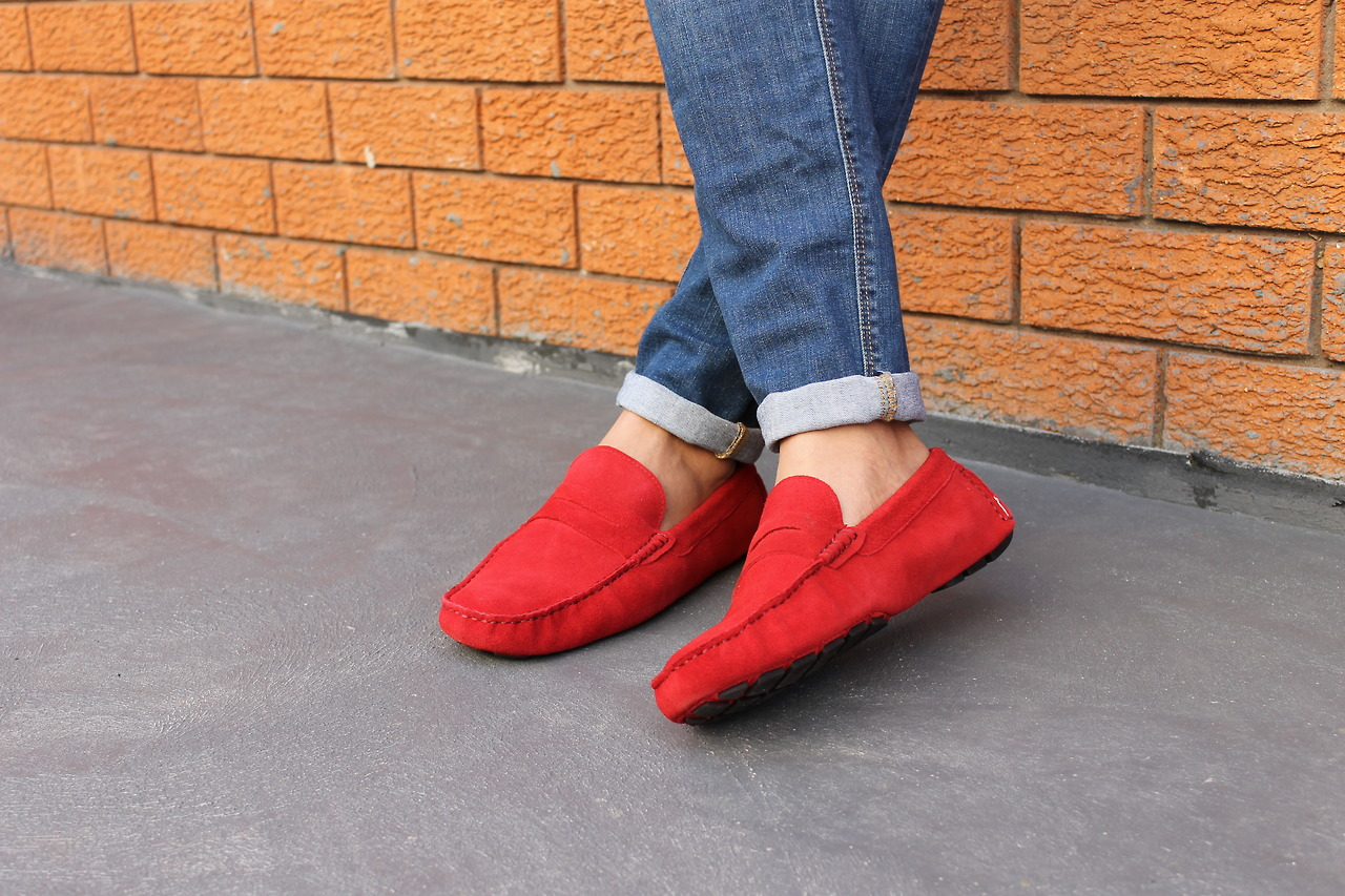 Red Trousers Shoes Mens